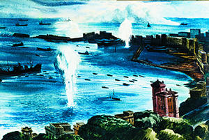[Anzio Harbor Under Bombardment - Ed Reep]