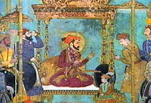 Shah Jahan on throne
