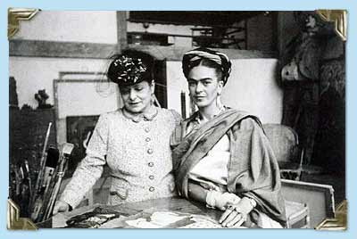 Frida with helena rubenstein san angel looking at some rivera s