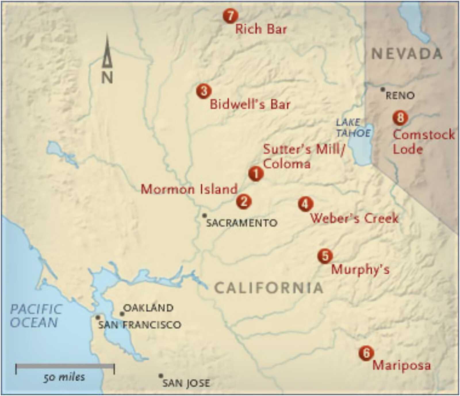California Gold Rush Map Major