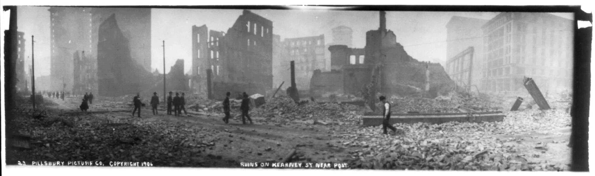 Ansel San Francisco - Earthquake & fire, 1906 %22Ruins on Kearney St. near Post 1906 LOC.jpg