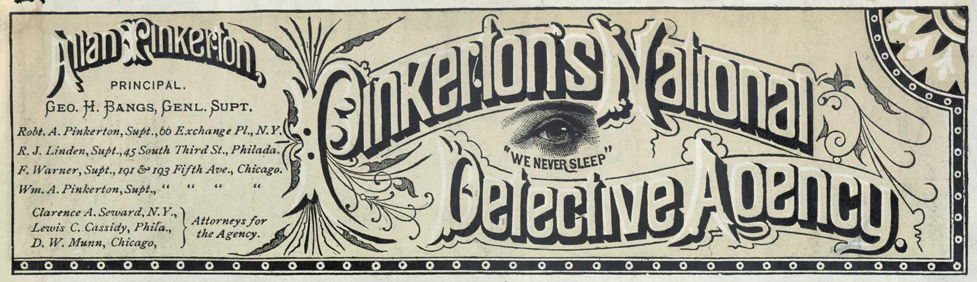 Image result for photo of pinkerton's detective agency