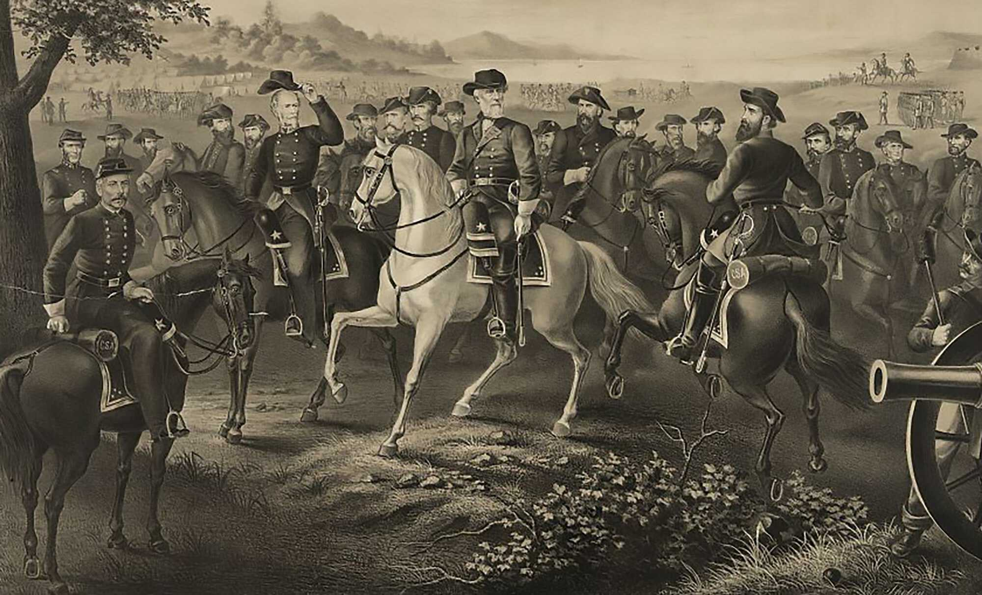Lee-Surrender-Generals-Robert-E.-Lee-and-21-Confederate-generals,-all-on-horseback-LOC-1867.jpg