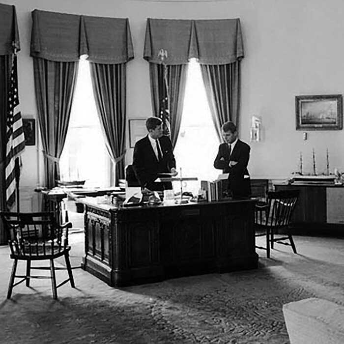 john f kennedy oval office. President John F. Kennedy In The Oval Office With His Brother, Attorney General Robert Kennedy. Credit: Art Rickerby/Time \u0026 Life Pictures/Getty Images F