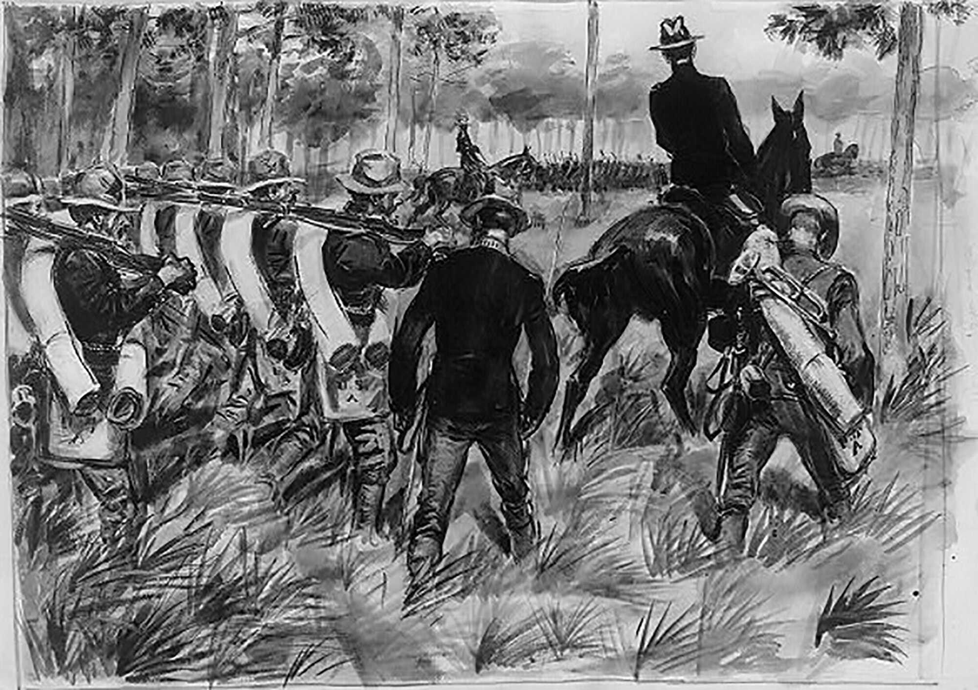 Macarthur-Spanish-American-War-Troops-on-the-march-Spanish-American-War-Contributor-Glackens-William-J-1870-1938-LOC.jpg