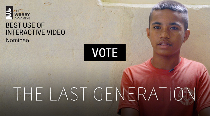 Background image with call to action for voting for The Frontline Last Generation project for a Webby award.