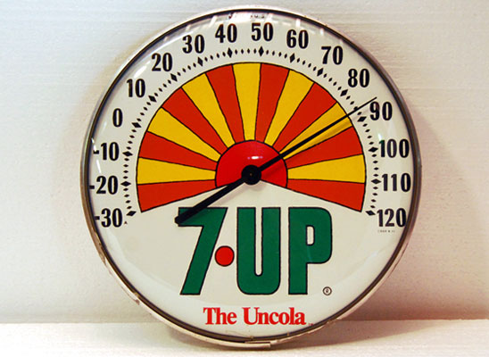 seven up thermometer from the 1970s in the style of Peter Max