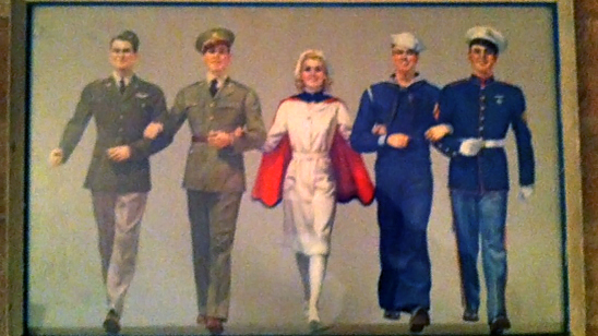 World War II propaganda poster of a female nurse walking arm-in-arm with men from the Army, Air Force, Navy, and Marines