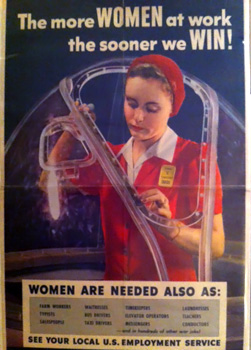 World War II propaganda poster of a woman at work in a factory