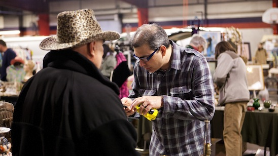 Kevin Bruneau shopping at a flea market