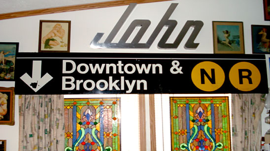 New York Subway Sign N/R and other items in John Bruno's house
