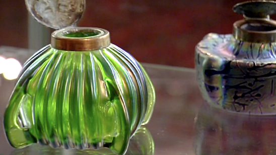 two pieces of art glass