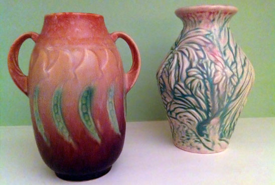 Reddish Roseville Falline vase with a sweet pea pattern and a Weller Marvo vase