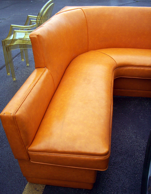 1970s orange vinyl banquette