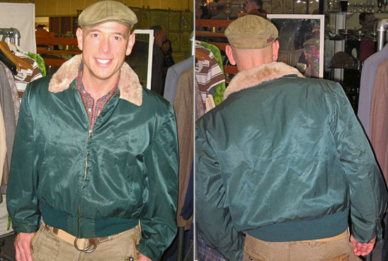 Bob Richter of MARKET WARRIORS modeling his vintage clothes, with front and back photos