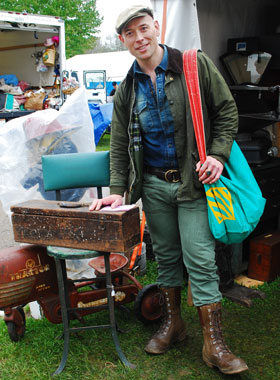 Bob Richter of MARKET WARRIORS wearing vintage hat, jacket, and boots