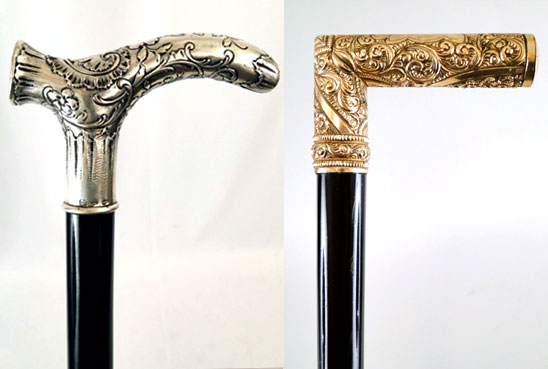 photographs of a silver-handled cane and a gold-handled can