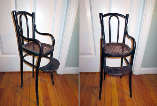 dark brown bentwood highchair with cane seat