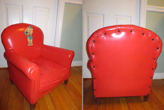 Child-size red vinyl chair, 60s-style, with Porky Pig image on chair