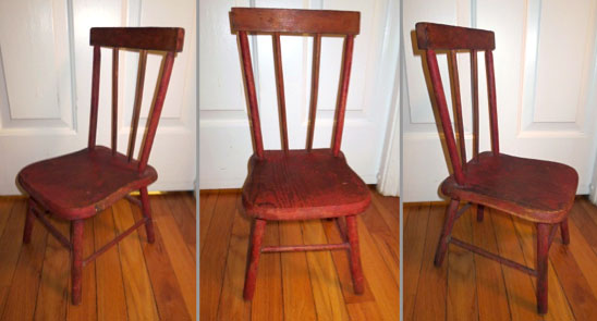 red doll-size Windsor chair with plank seat