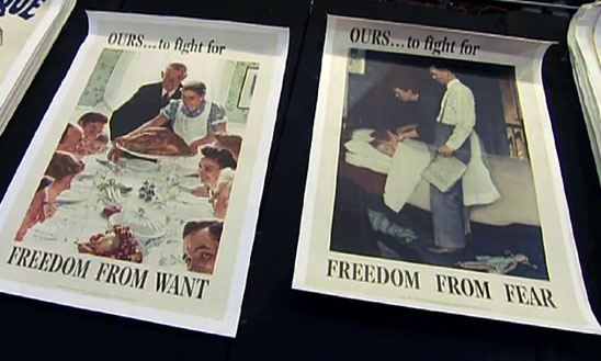 "Photograph of two of Norman Rockwell's ""Four Freedoms"" posters: ""Freedom from Want"" which shows a family gathered around a table for an impressive meal, and ""Freedom from Fear"" which shows a mother and father tucking their children into bed"