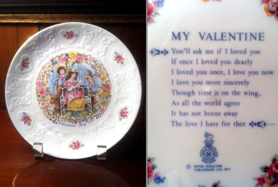 Front and back of a ceramic valentine's plate. Image of cherubs on the front and a poem, My Valentine, on the back