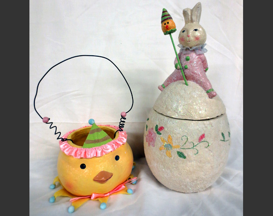 vintage easter ceramics: a yellow jar in the shape of a chick's head and a white cookie holder in the shape of an egg with a rabbit sitting on top