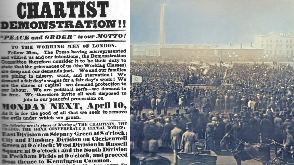 Left: A Poster advertising the Great Chartist Meeting | Right: Photograph of the Great Chartist Meeting on Kennington Common, London in 1848