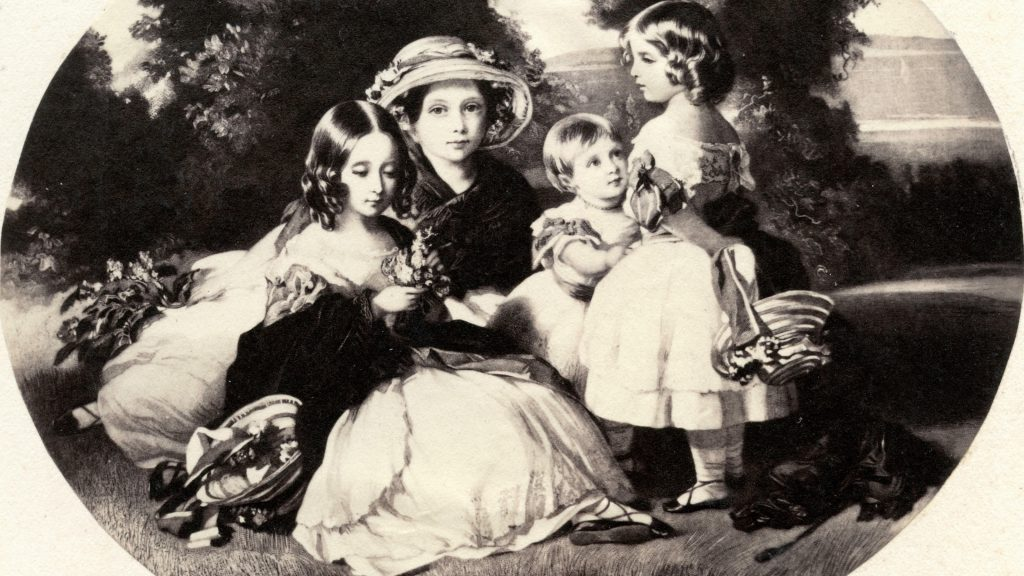 The four daughters of Queen Victoria, etching