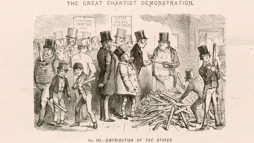The Great Chartist Demonstration Distribution of the Staves special constables prepare for trouble by handing out truncheons