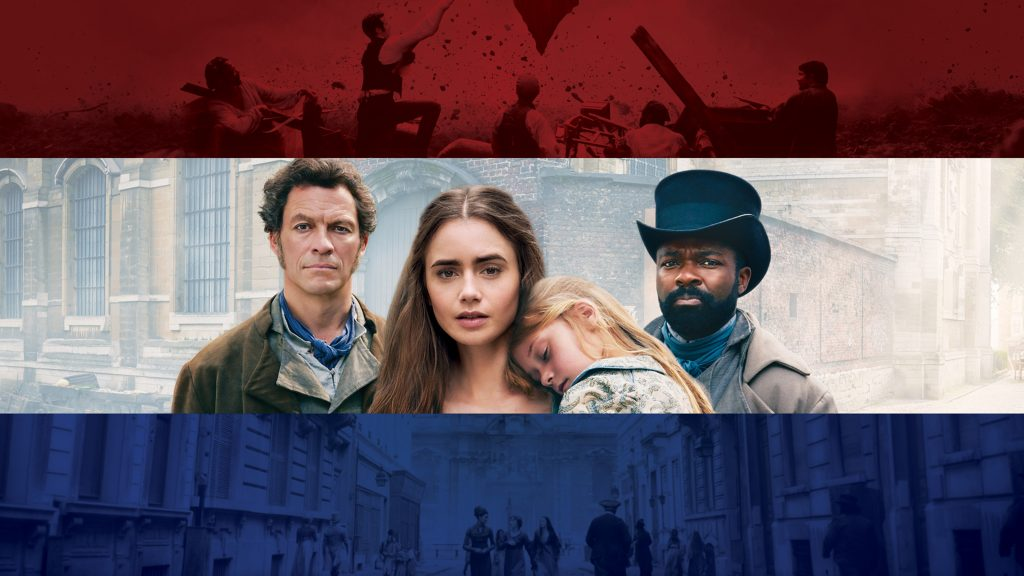 Dominic West, Lily Collins, David Oyewolo in Les Misérables
