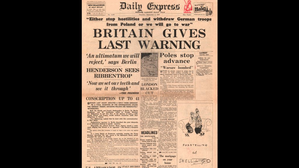 1939 Daily Express front page reporting British ultimatum for Germany to withdraw its troops from Poland