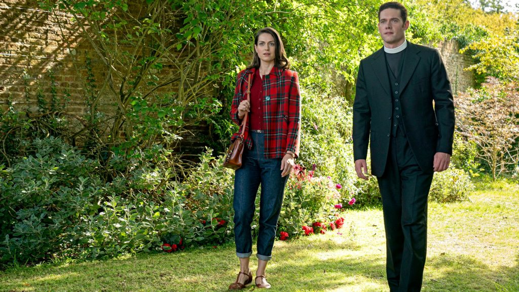 Lauren Carse and Tom Brittney as Ellie and Will in Grantchester, Season 5