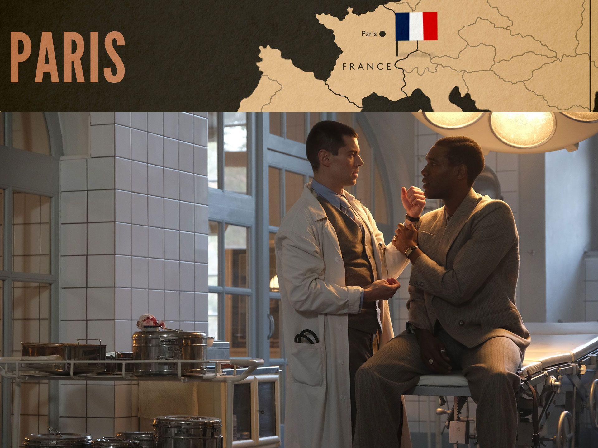 Webster treats Albert in the Paris hospital in World on Fire Episode 1