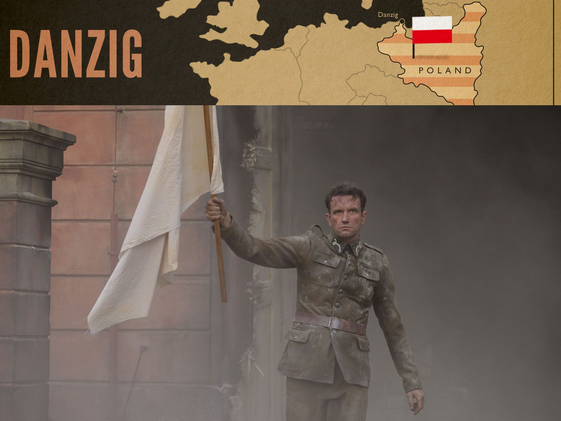 Stefan Tomaszeski surrenders at the Polish post office in Danzig in World on Fire Episode 1