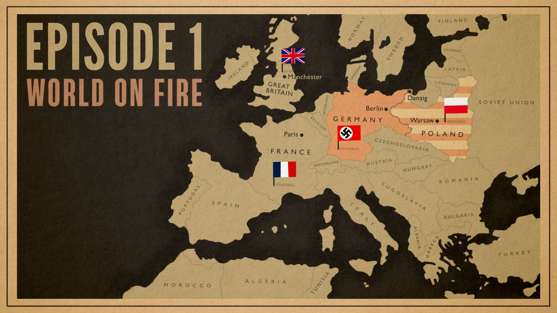 World on Fire Episode 1 map of Europe 1939
