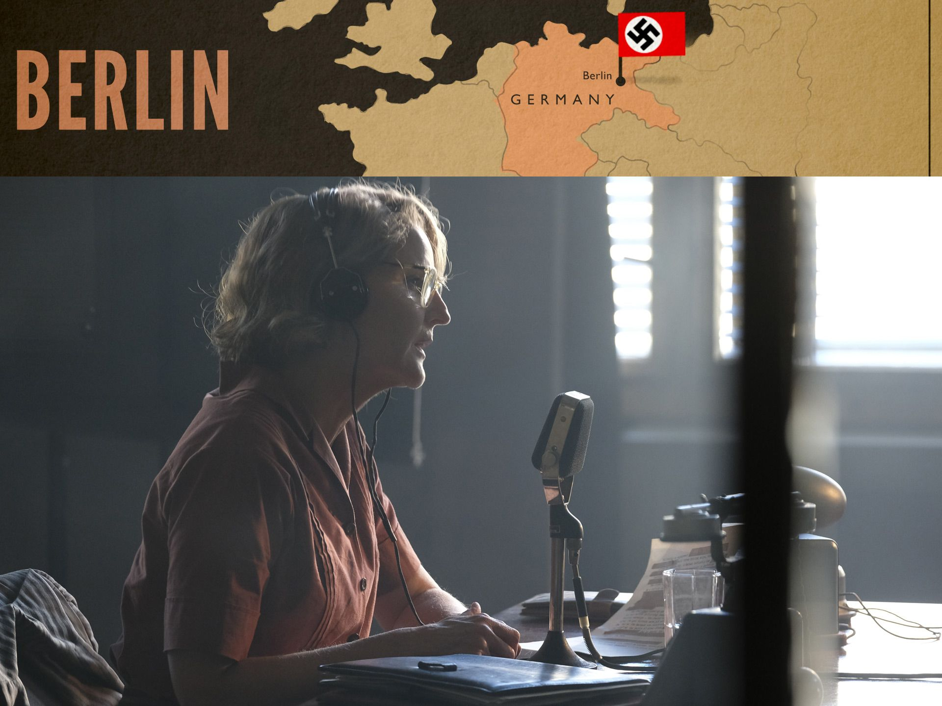 Nancy Campbell (Helen Hunt) reporting from Berlin in World on Fire Episode 2