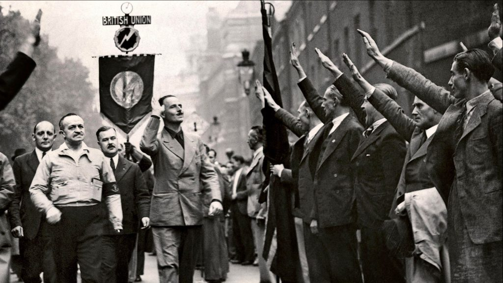 oswald Mosley and the BUF Party at a facist rally in London, 1937