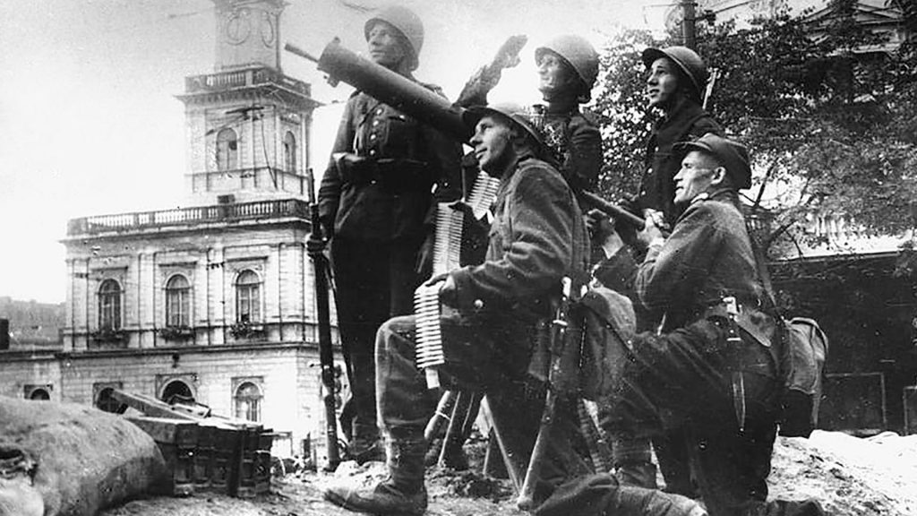 Polish soldiers from antiaircraft artillery unit during Siege of Warsaw in September, 1939