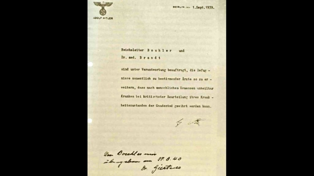 Adolf Hitler's authorization for the Euthanasia Program (Aktion T4), signed in October 1939 but dated September 1, 1939.