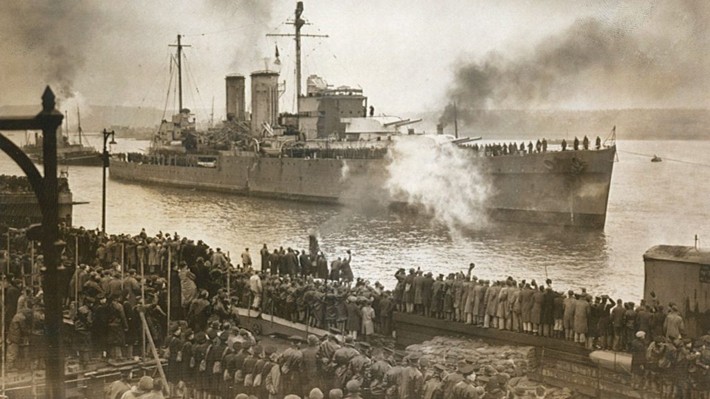 HMS Exeter returning home in February 1940 after repairs following the Battle of the River Plate (December 1939).