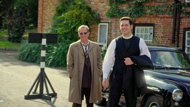 Tom Brittney and Robson Green behind the scenes of Grantchester, Season 5