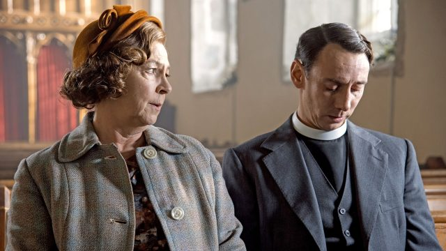 Tessa Peake-Jones and Al Weaver as Mrs. C and Leonard in Grantchester, Season 5: Episode 6