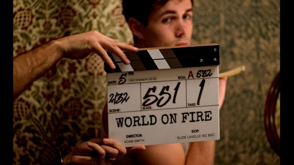 Jonah Hauer-King filming for World on Fire, Season 1