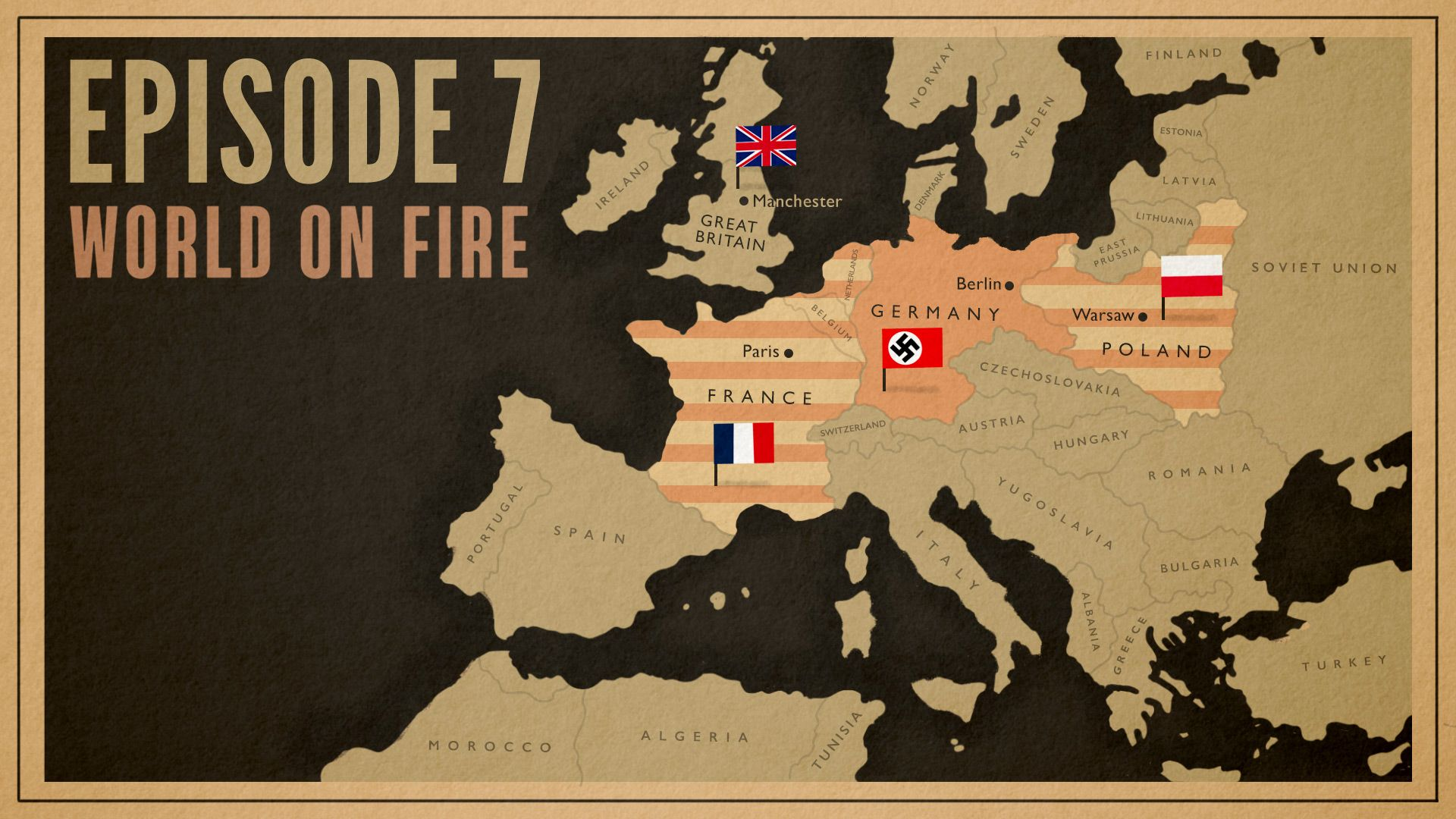 Map of Europe in 1940 as seen in World on Fire, Season 1, Episode 7 on Masterpiece on PBS