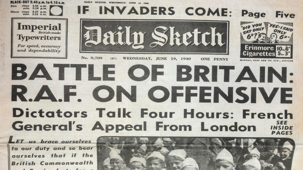 Front page of the Daily Sketch on 19th June 1940, with