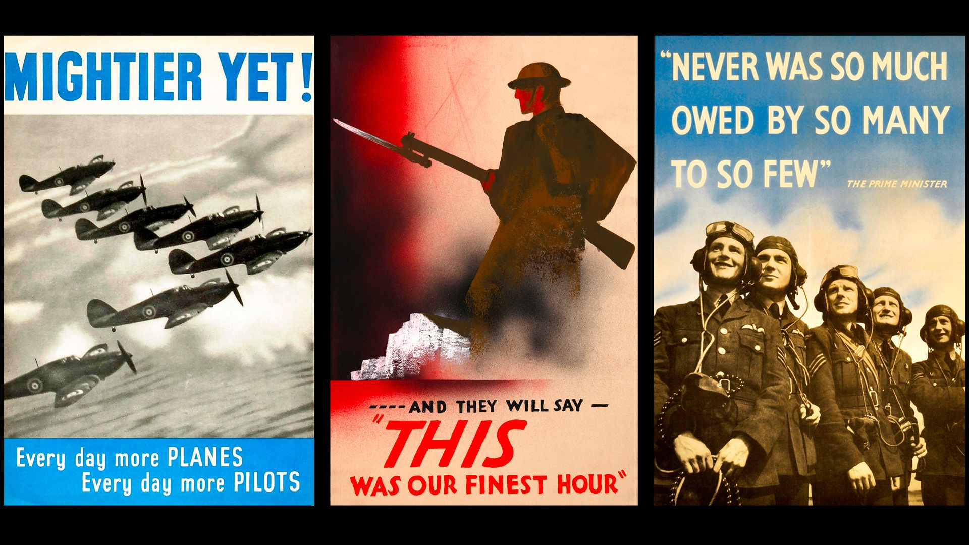 British propaganda posters promoting the RAF and the Battle of Britain in World War II