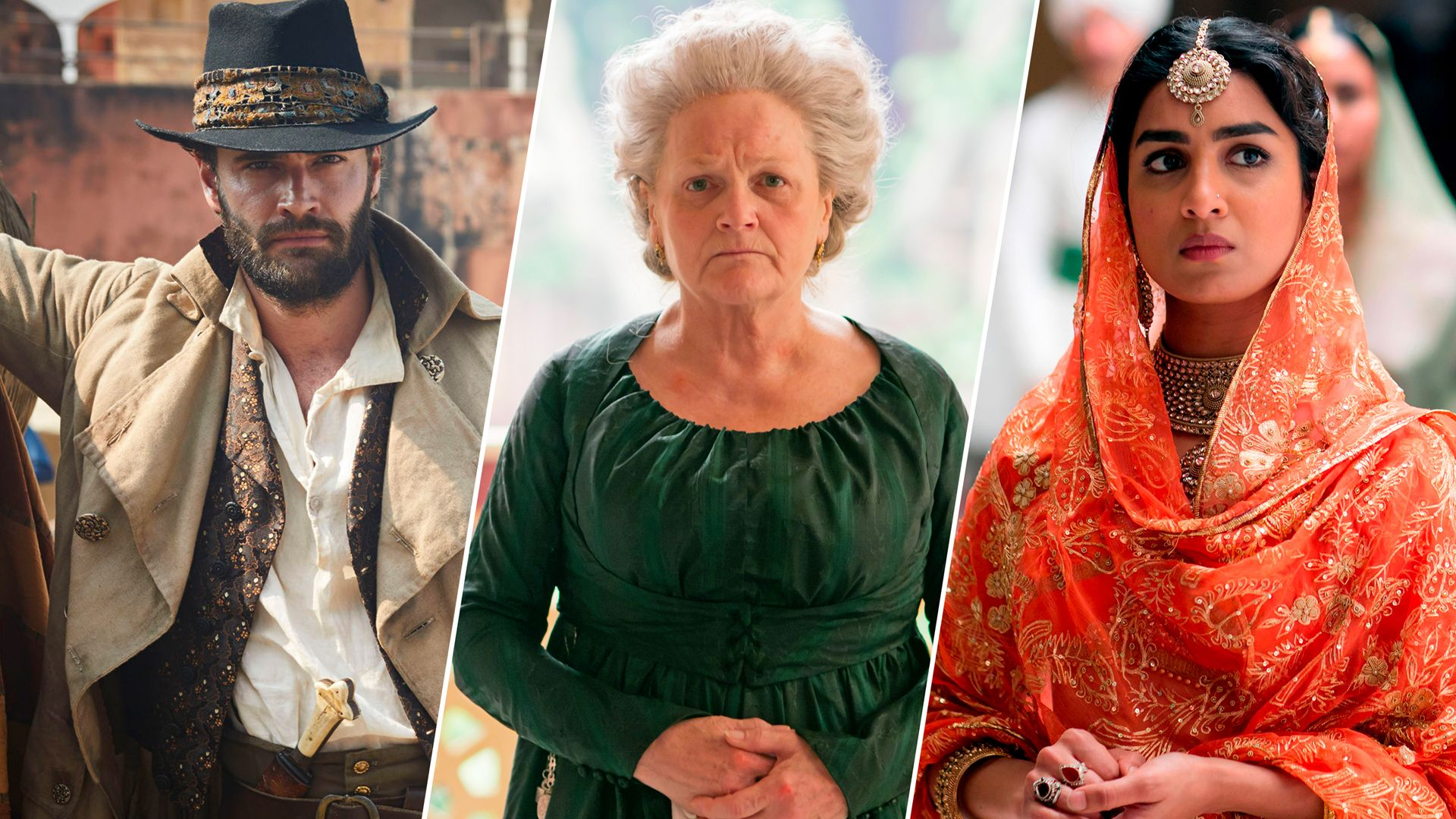 Tom Bateman, Lesley Nicol and Pallavi Sharda of the Beecham House cast