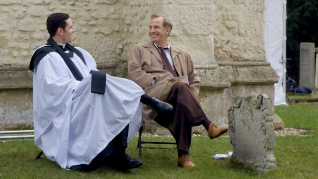 Tom Brittney and Robson Green talking about filming Grantchester