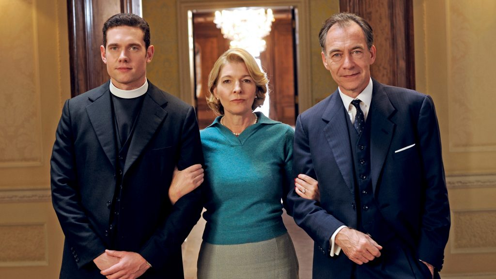 Tom Brittney, Jemma Redgrave and Dominic Mafham in Grantchester on MASTERPIECE on PBS